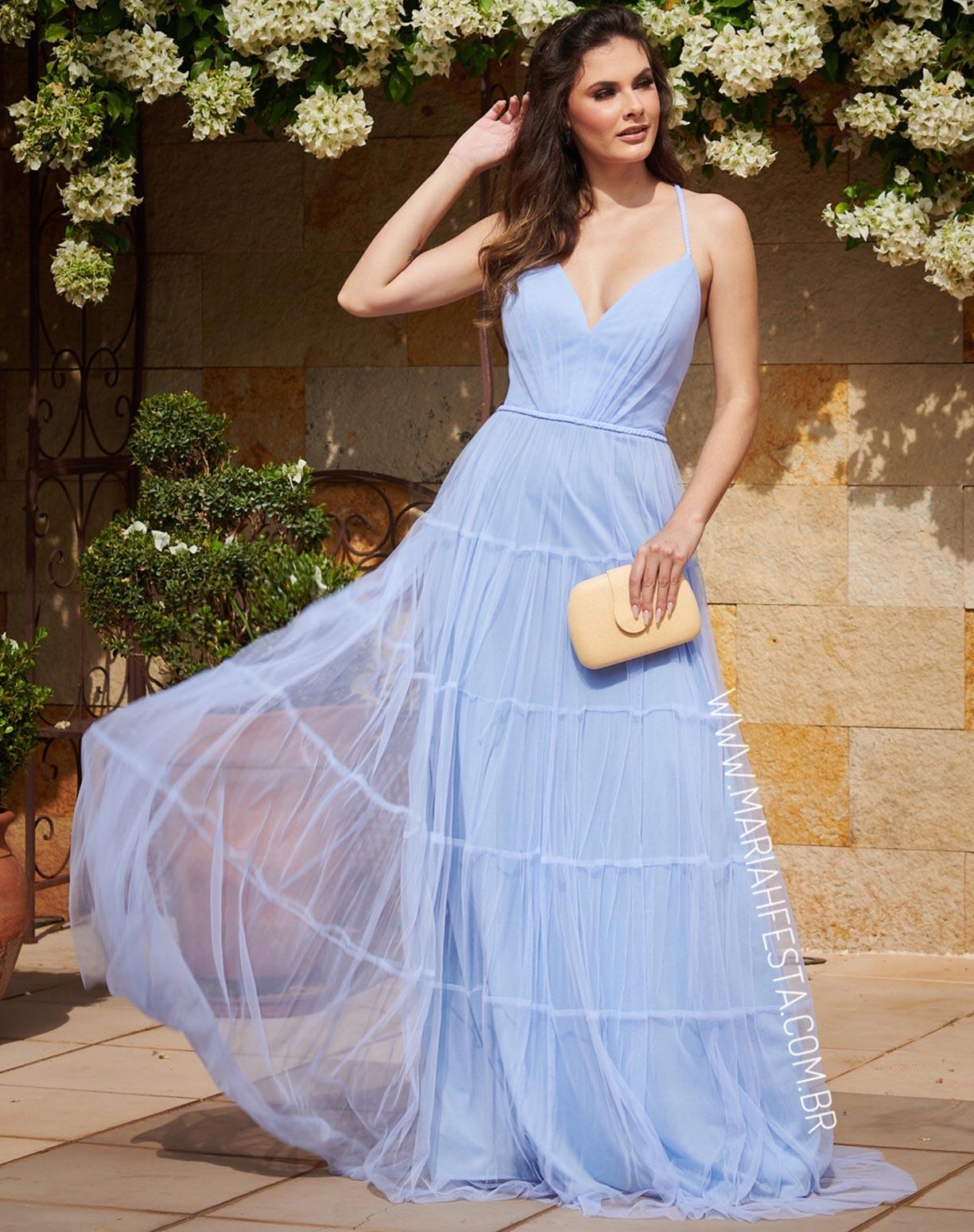 Vestido Azul Serenity em Tule com Saia Evasê em Camadas