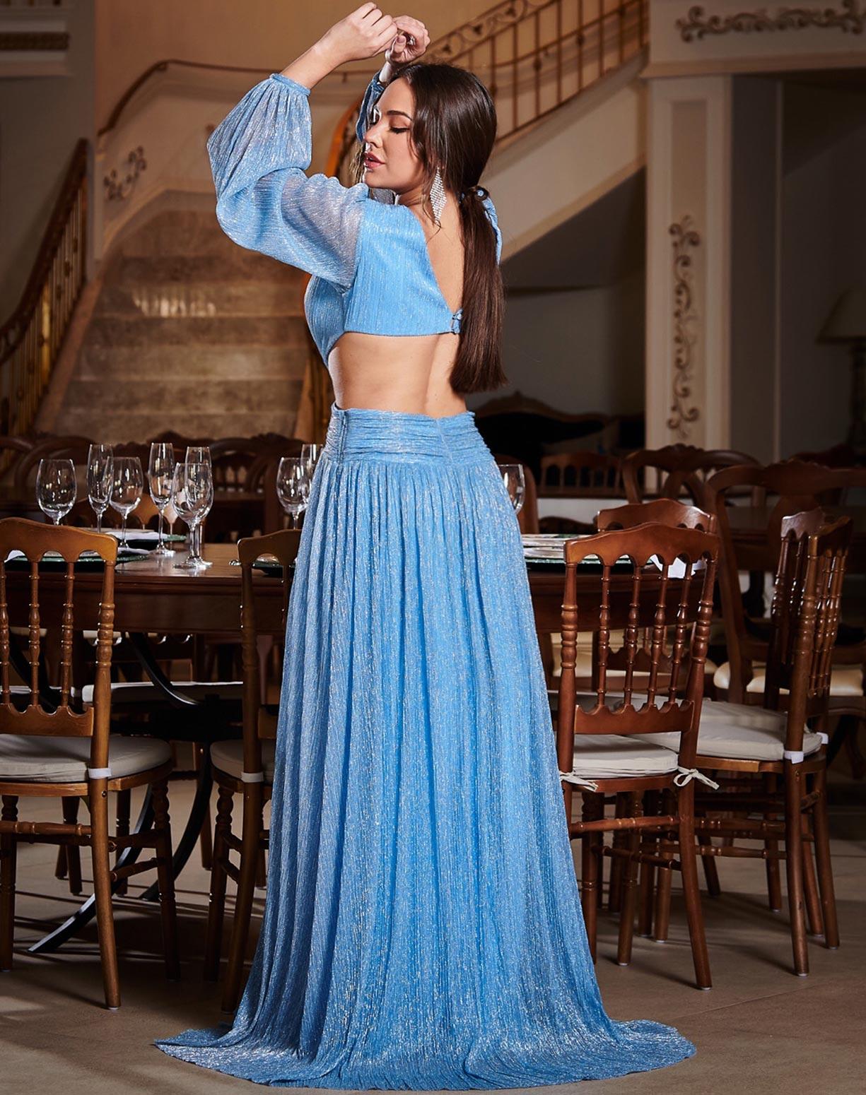Vestido Azul Serenity em Tule de Lurex