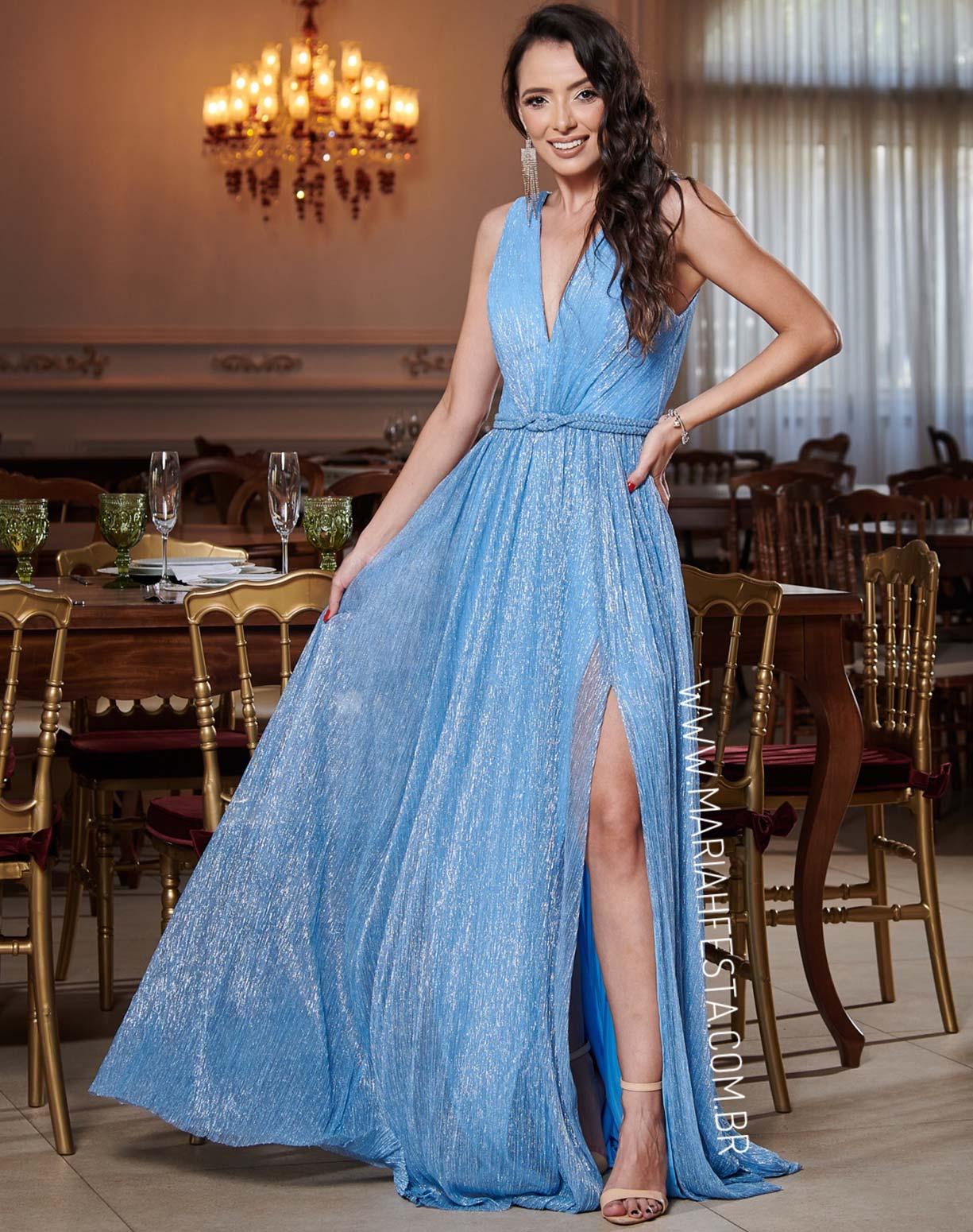 Vestido Azul Serenity em Tule de Lúrex com Manga Capa Removível