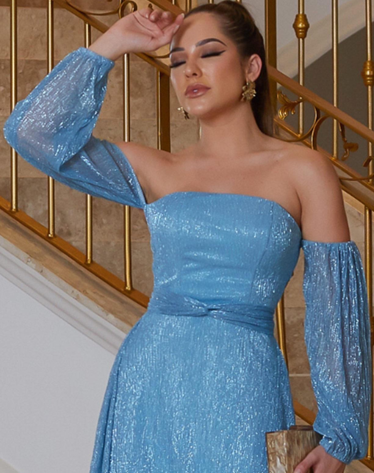 Vestido Azul Serenity em Tule de Lúrex, Manga Ombro a Ombro