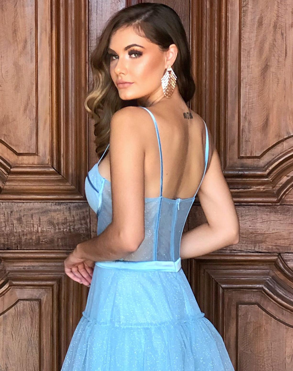Vestido Azul Serenity em Tule Glitter com Corpete
