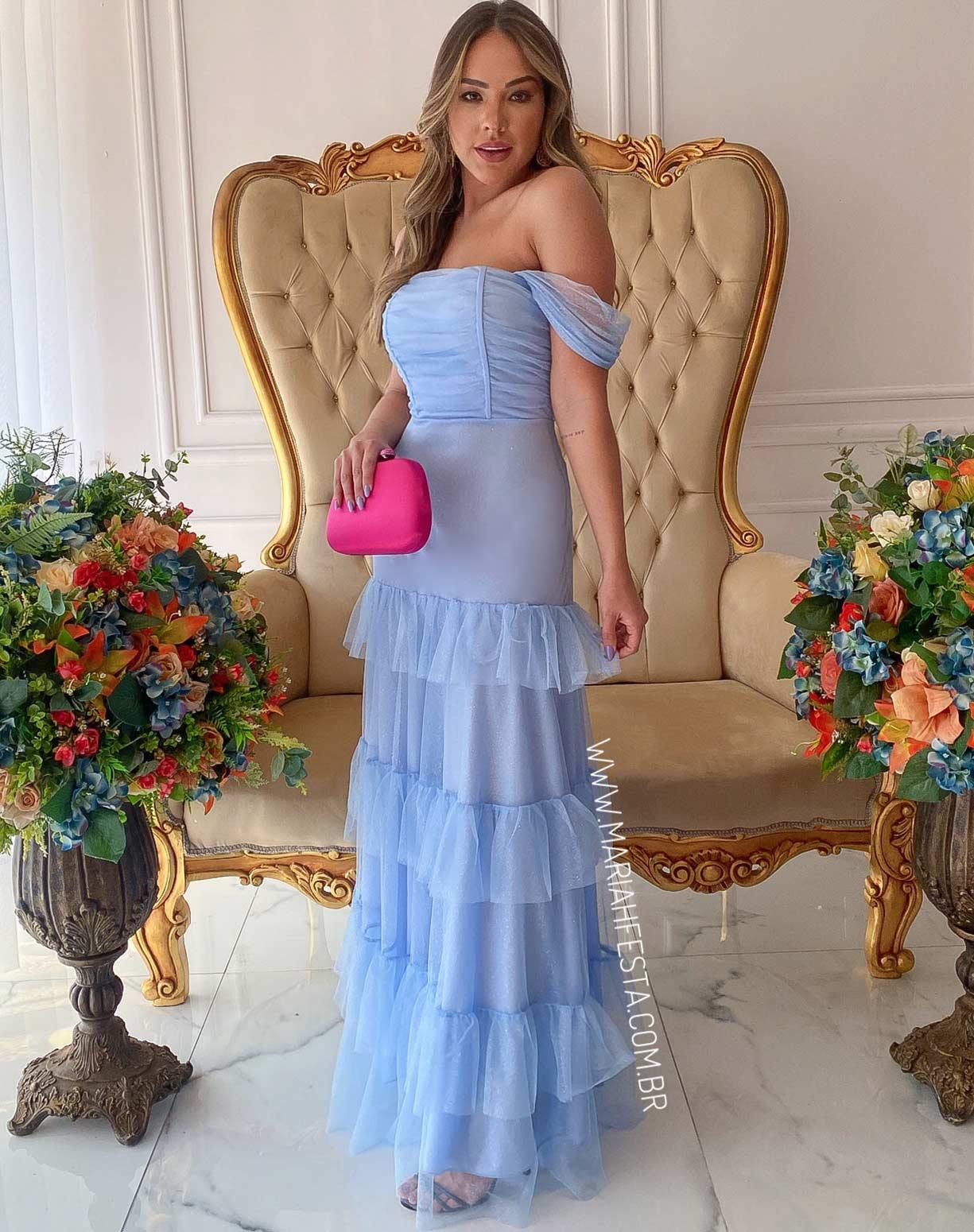 Vestido Azul Serenity em Tule Glitter com Corpete Drapeado