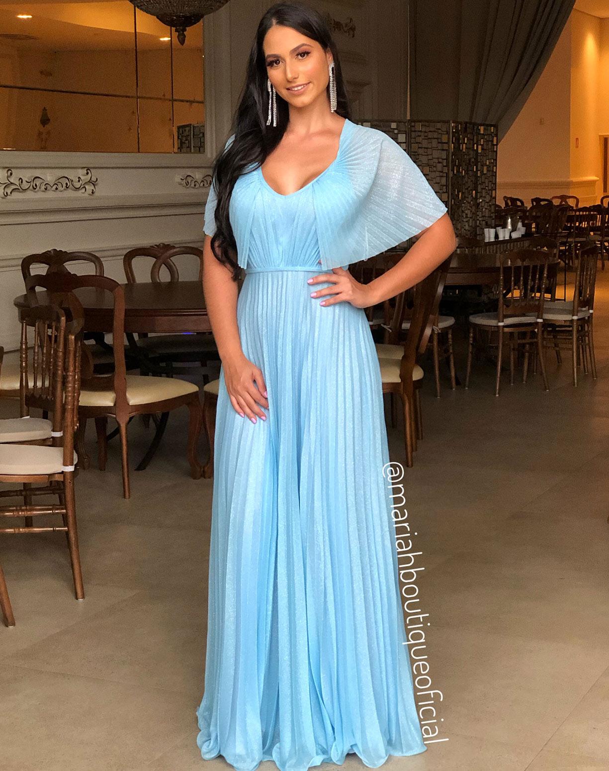 Vestido Azul Serenity em Tule Glitter com Saia e Manga Plissada