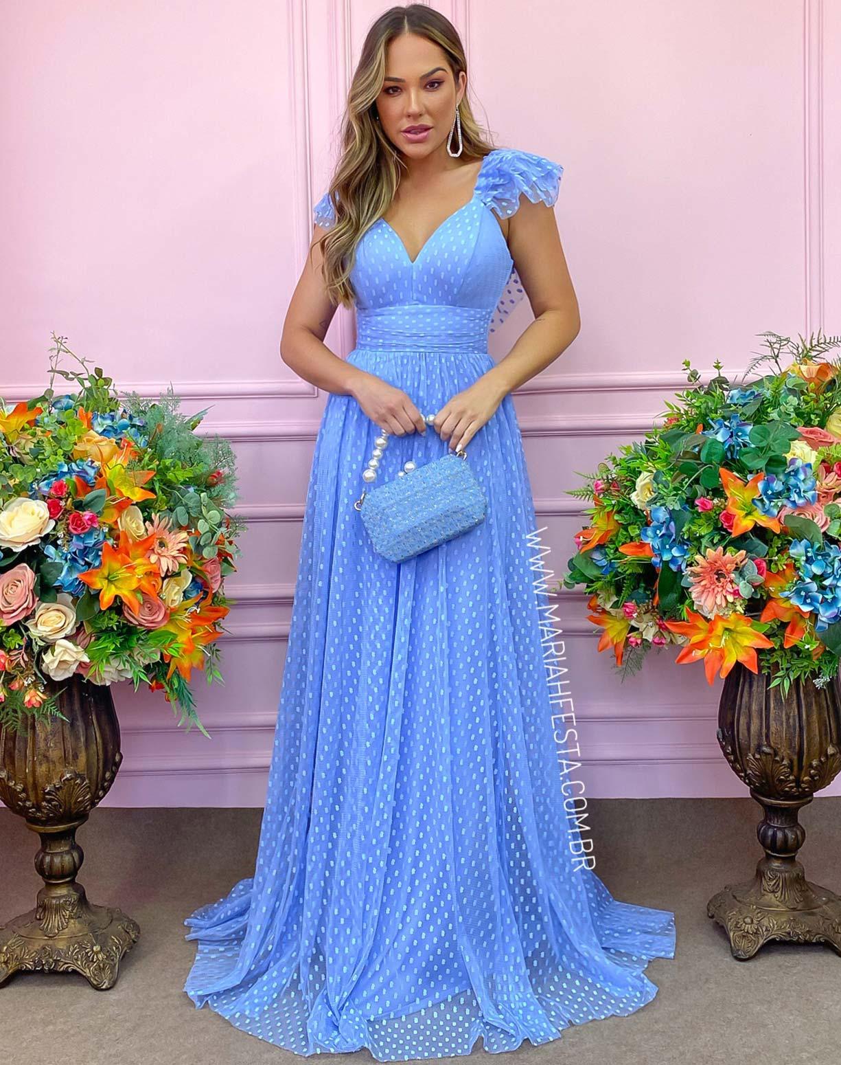 Vestido Azul Serenity em Tule Texturizado com Manguinha Princesa