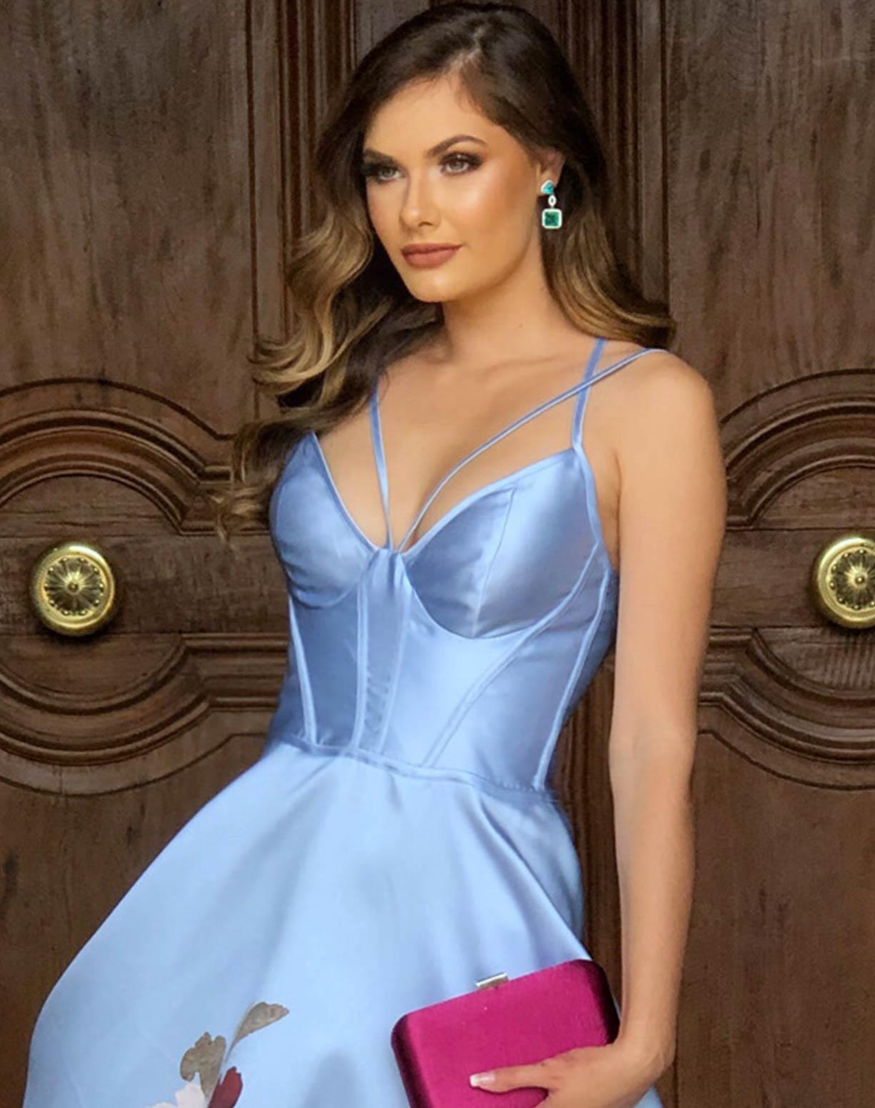 Vestido Azul Serenity em Zibeline com Barrado Floral