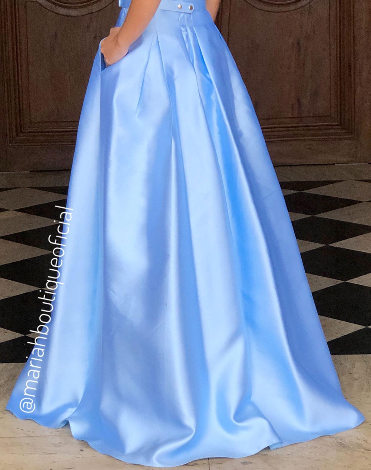 Vestido Azul Serenity em Zibeline com Cinto de Lacinho