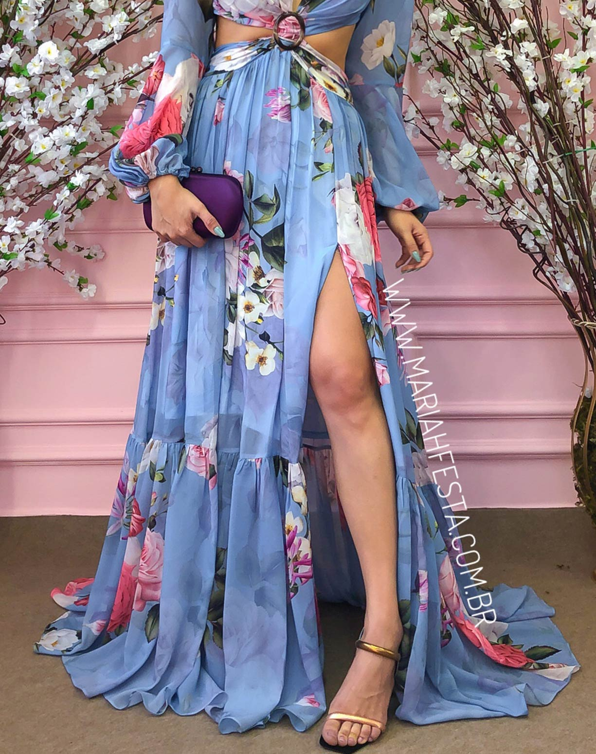 Vestido Azul Serenity Estampado com Decotes