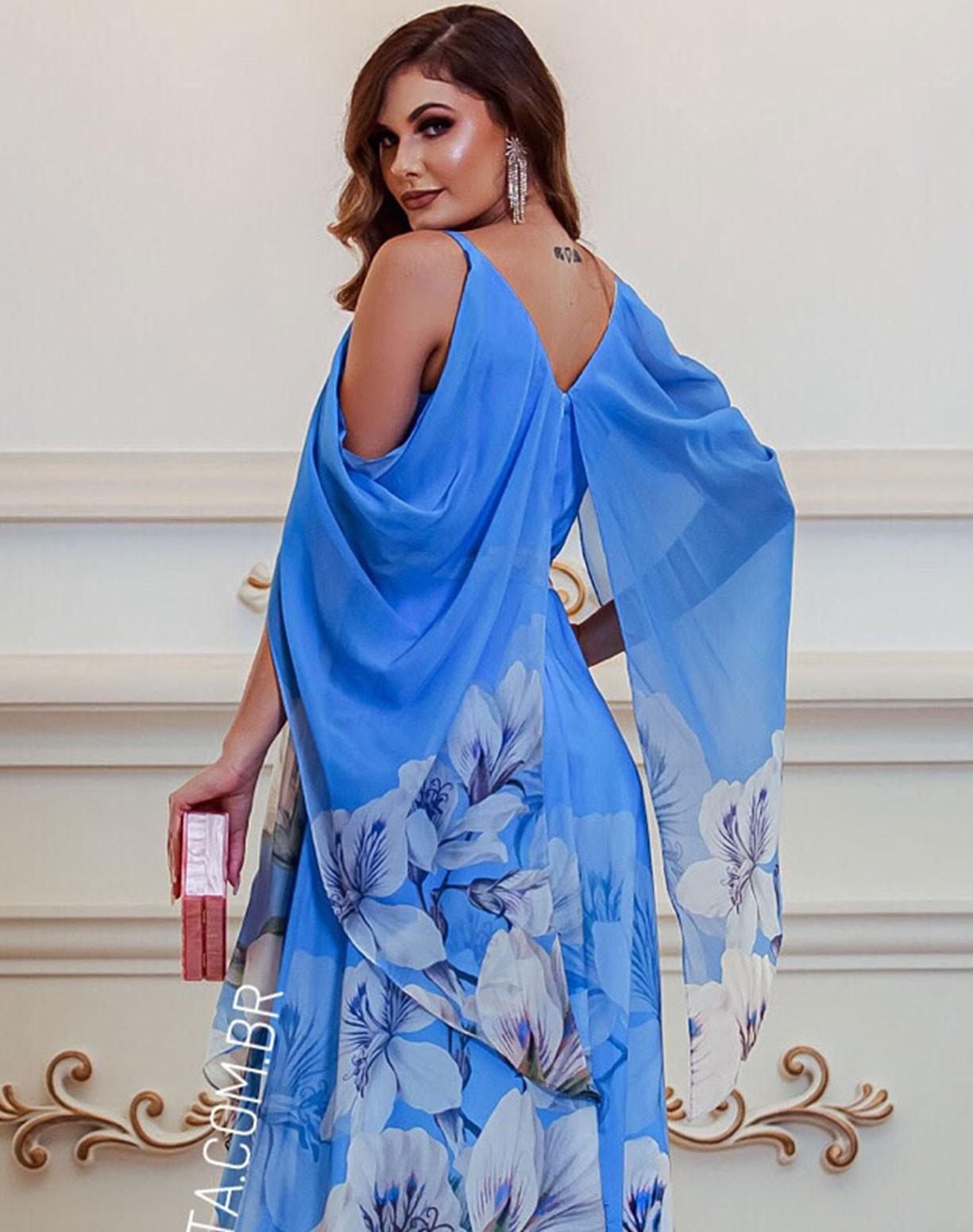 Vestido Azul Serenity Estampado com Manga Capa Voal