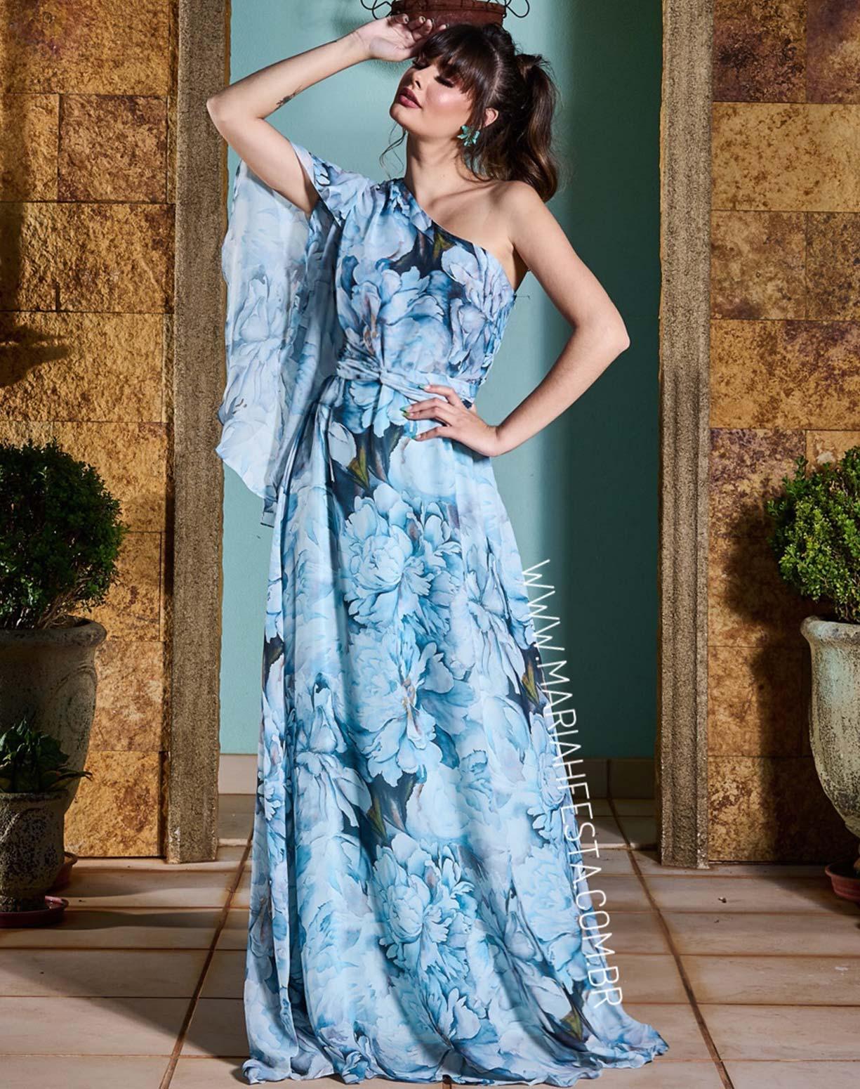 Vestido Azul Serenity Floral de Um Ombro Só