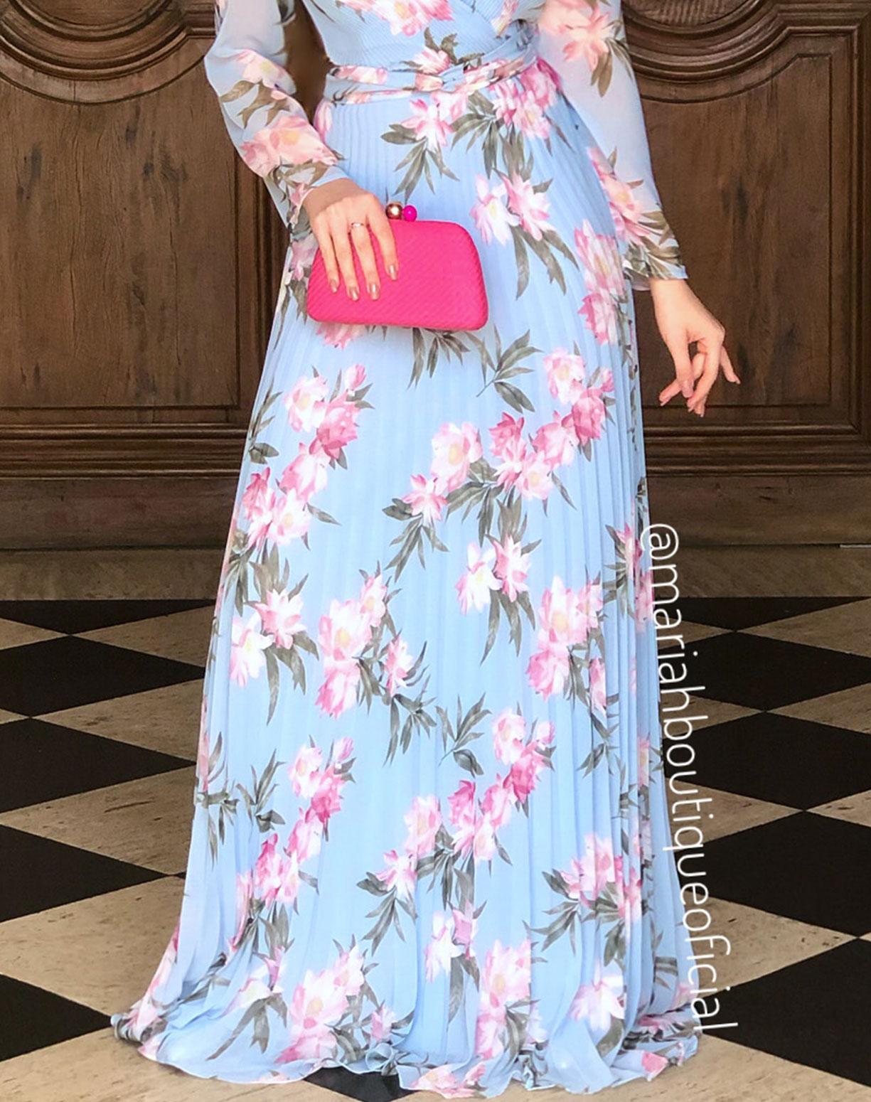 Vestido Azul Serenity floral Plissado
