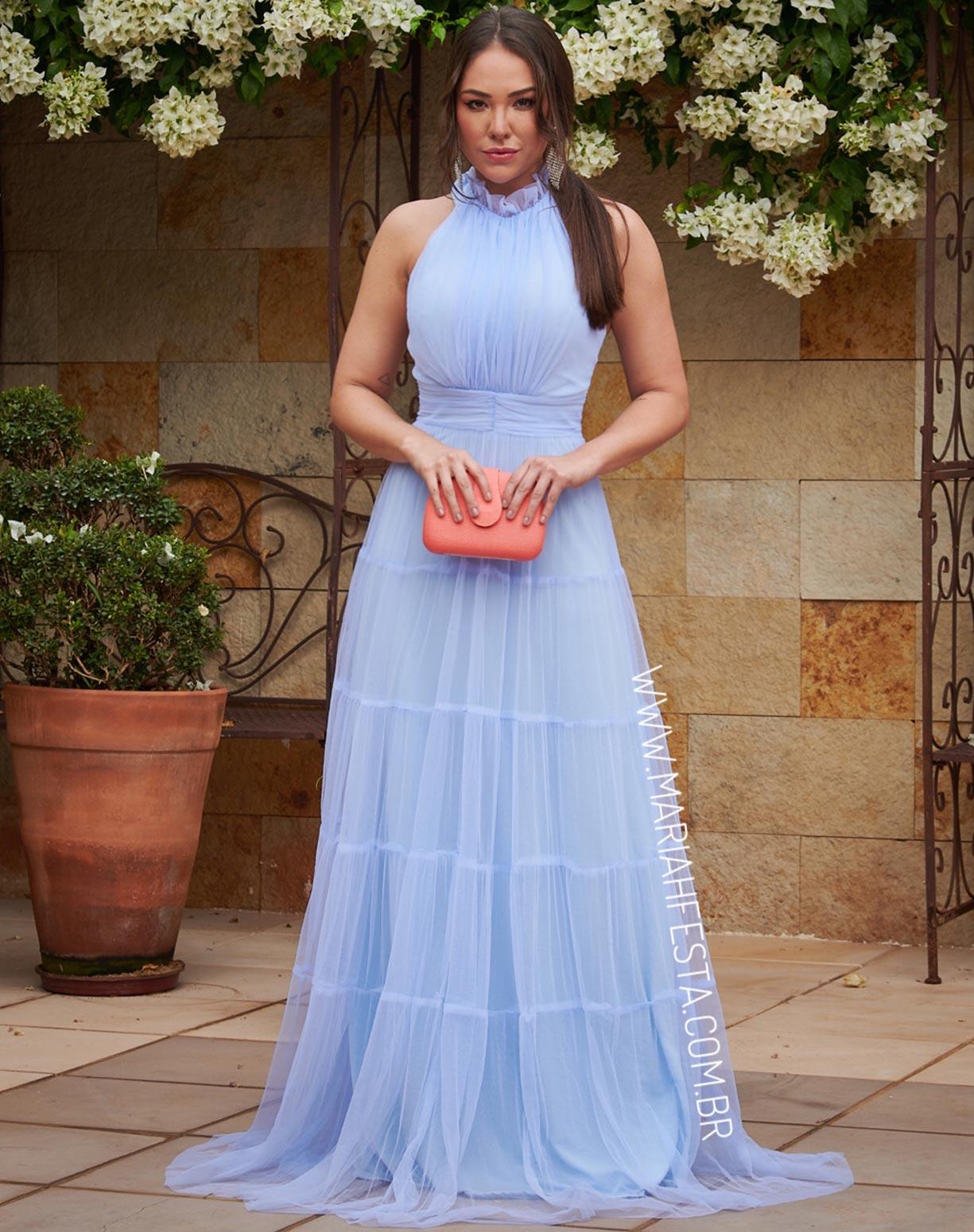 Vestido Azul Serenity Frente Única com Gola Jabô