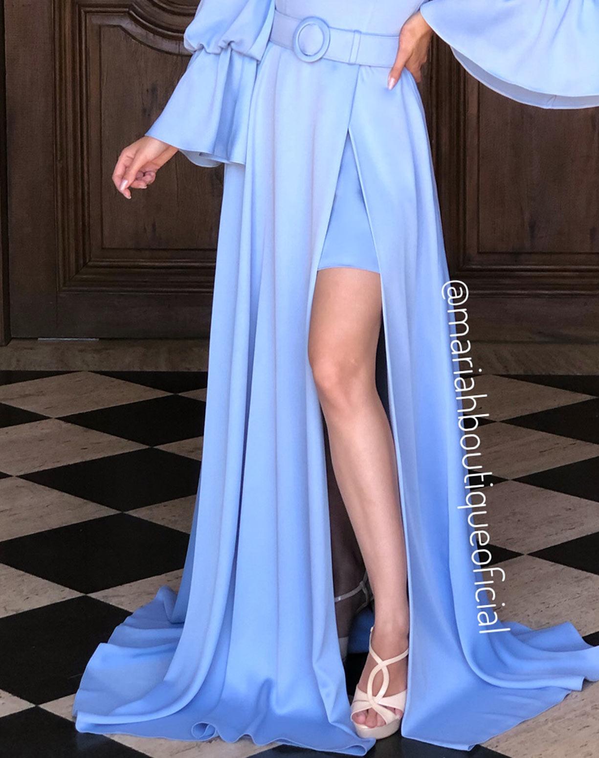 Vestido Azul Serenity  Manga Bufante com Fenda