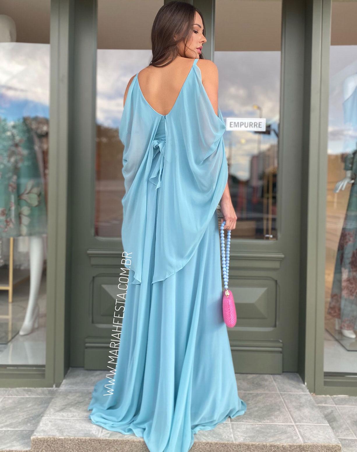 Vestido Azul Serenity Manga Capa e Saia Evasê