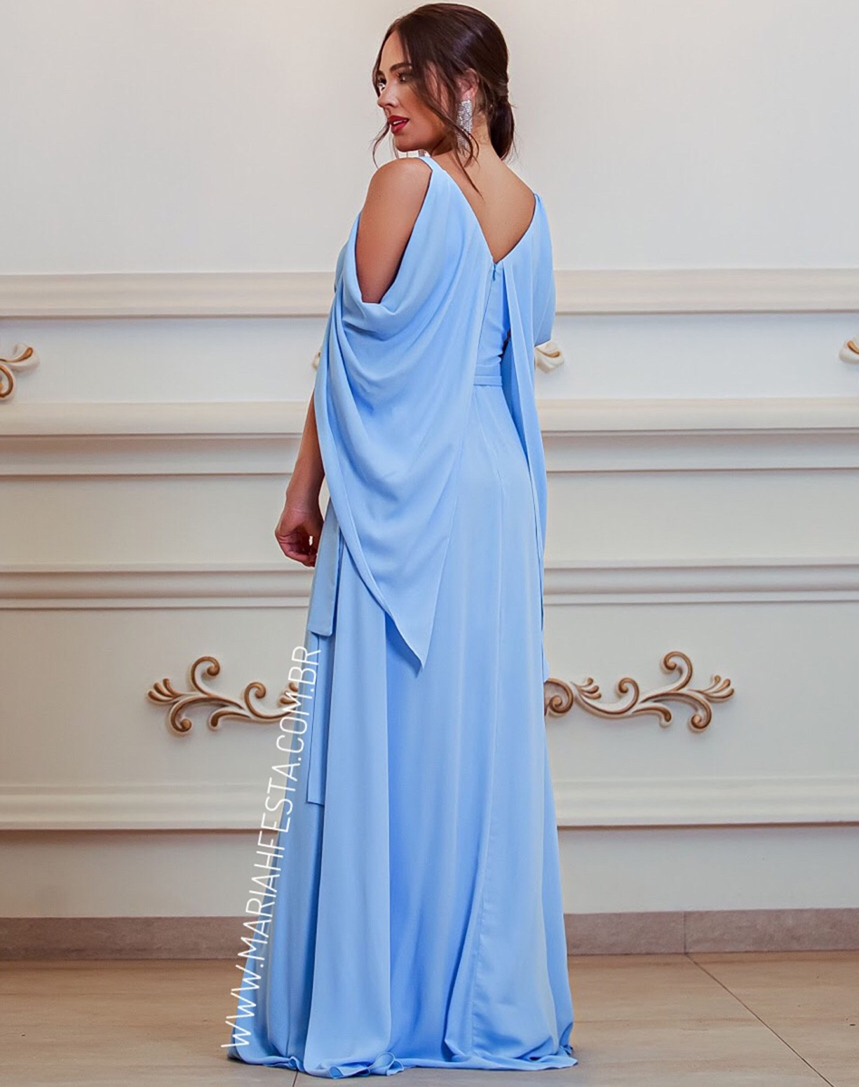 Vestido Azul Serenity Manga Capa Voal