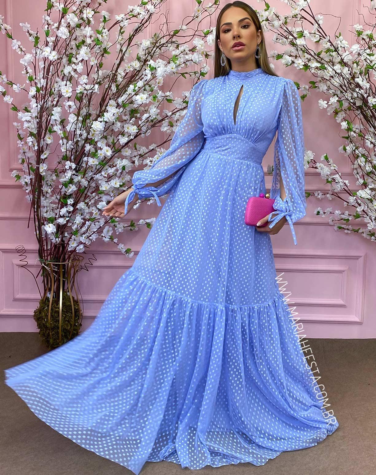 Vestido Azul Serenity Manga Longa em Tule Texturizado