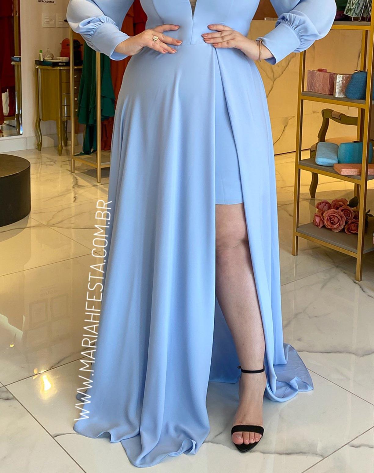 Vestido Azul Serenity Manga Longa Ombro a Ombro com Fenda