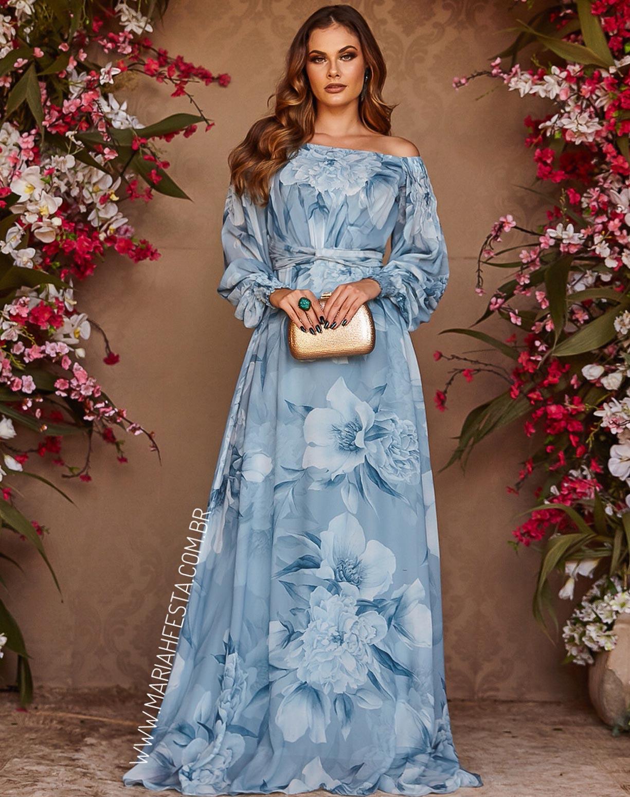 Vestido Azul Serenity Ombro a Ombro Floral