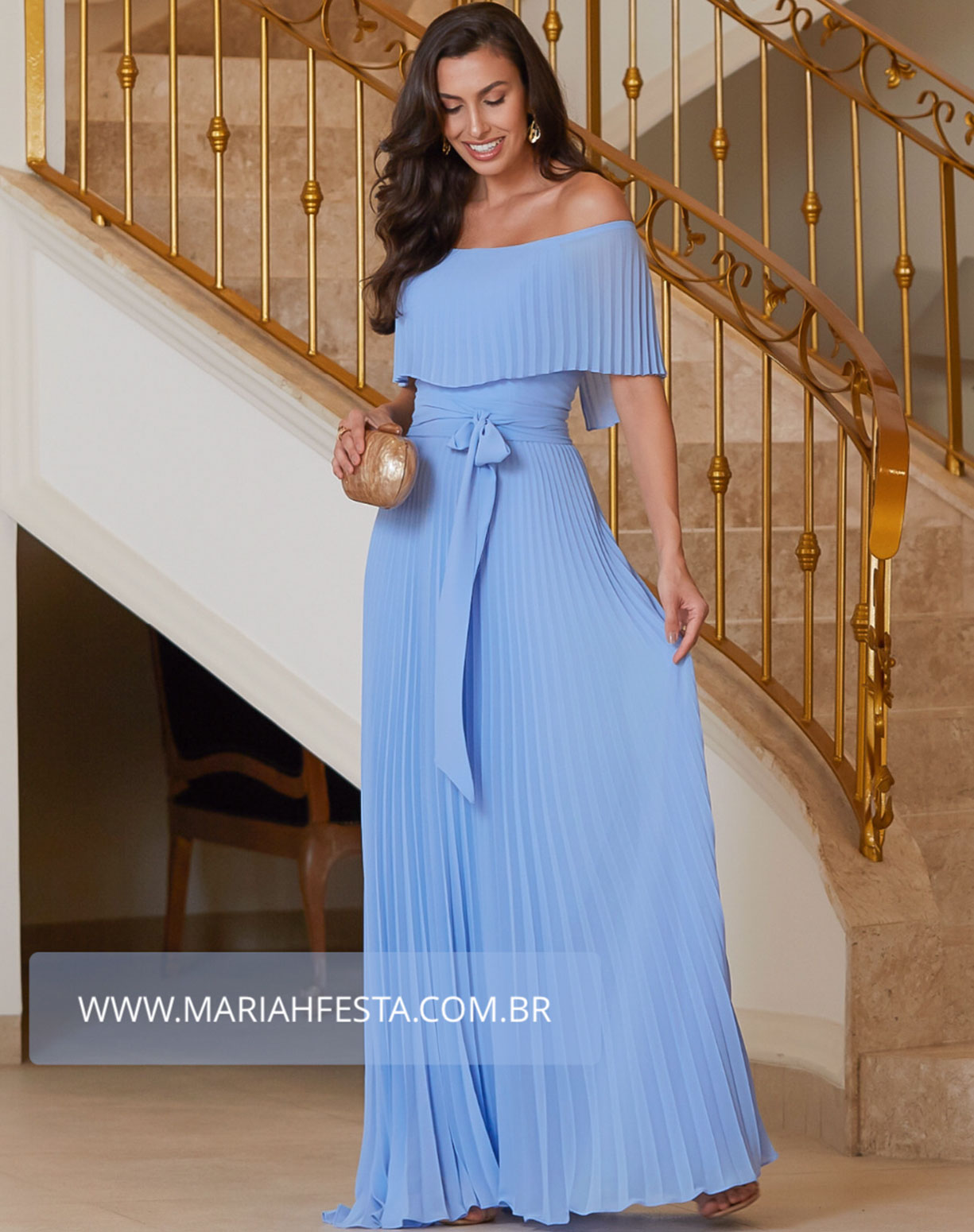 Vestido Azul Serenity Ombro a Ombro Plissado