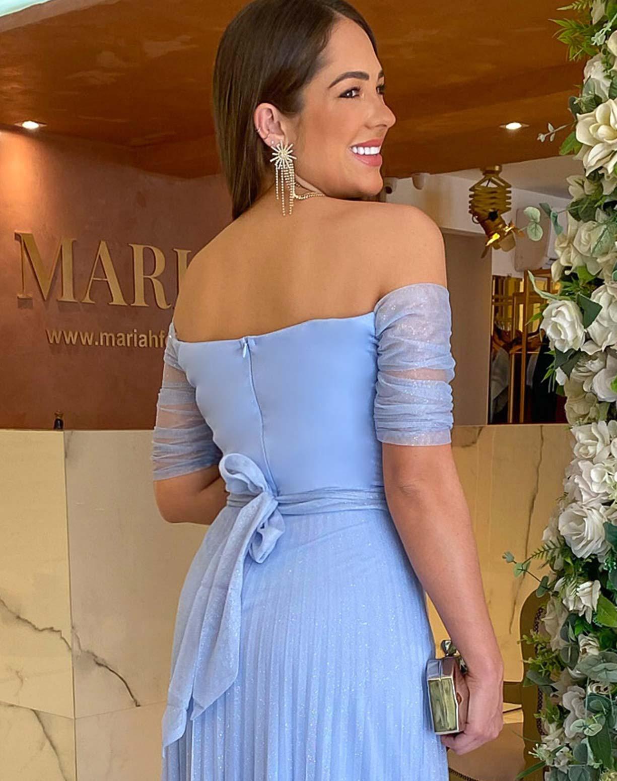 Vestido Azul Serenity Ombro a Ombro Tule Glitter