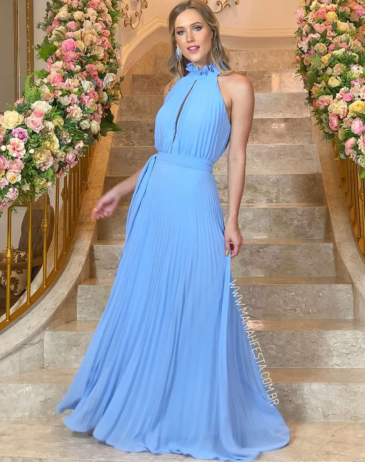 Vestido Azul Serenity Plissado com Gola Alta