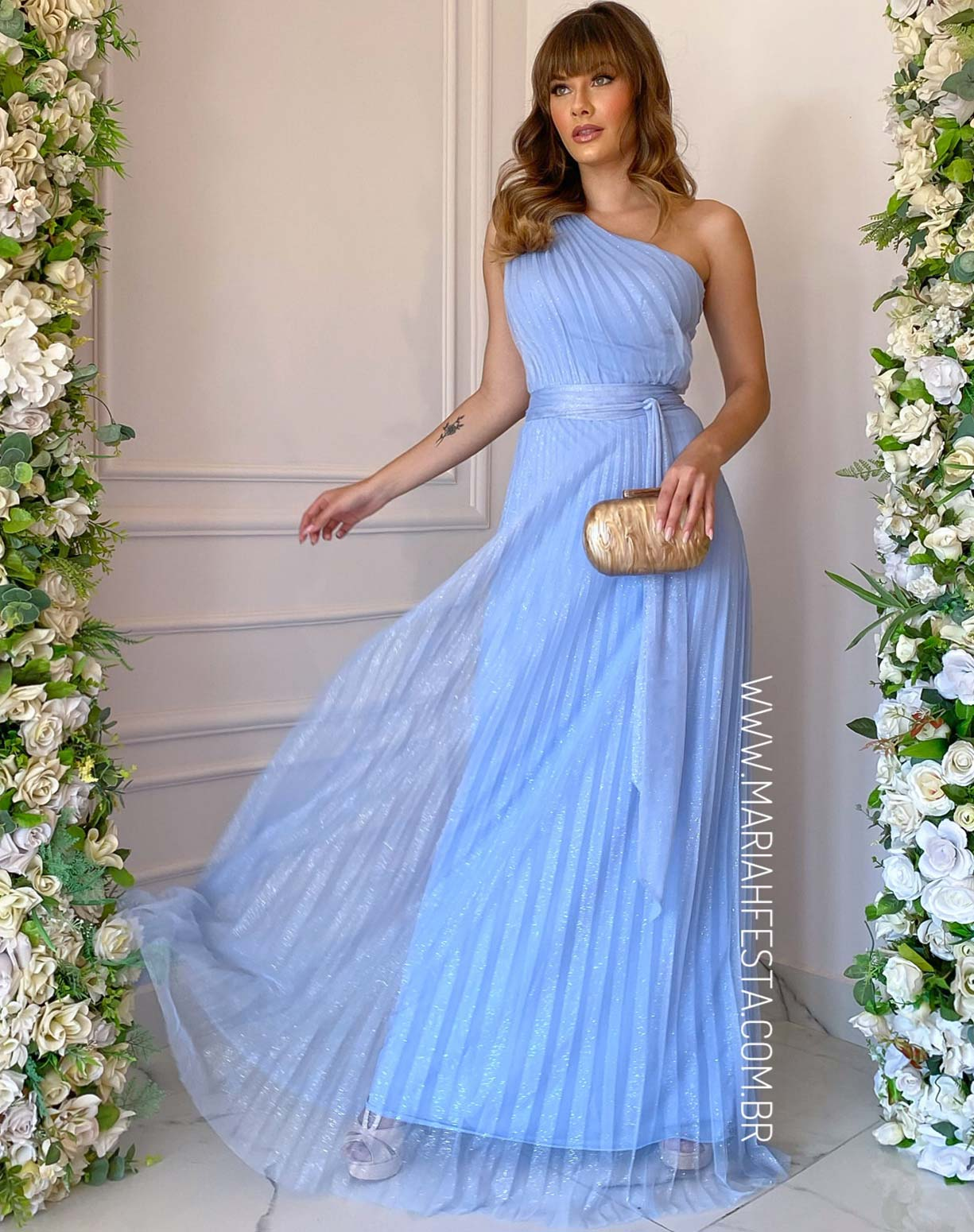Vestido Azul Serenity Plissado de um Ombro Só