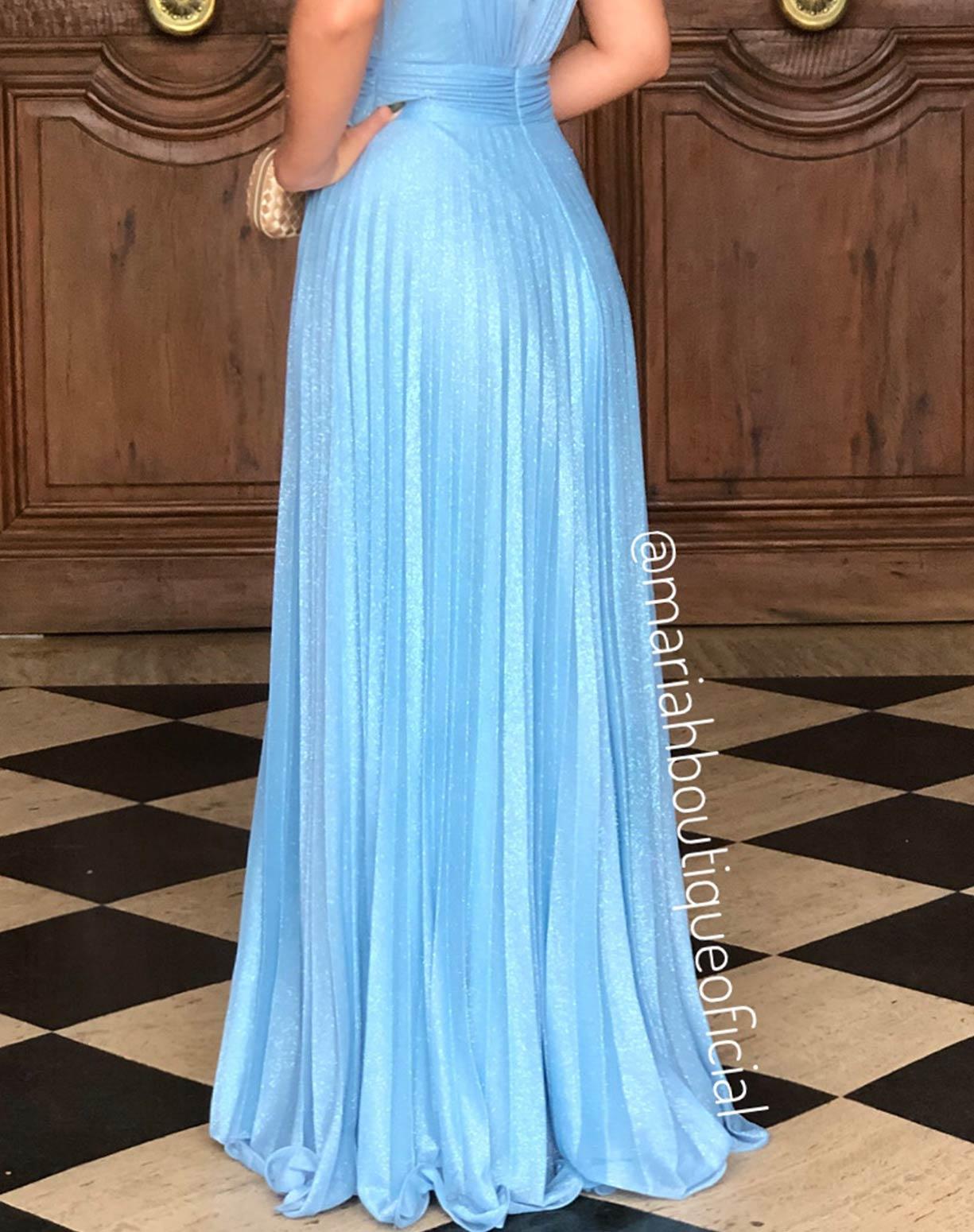 Vestido Azul Serenity Plissado em Tule Glitter