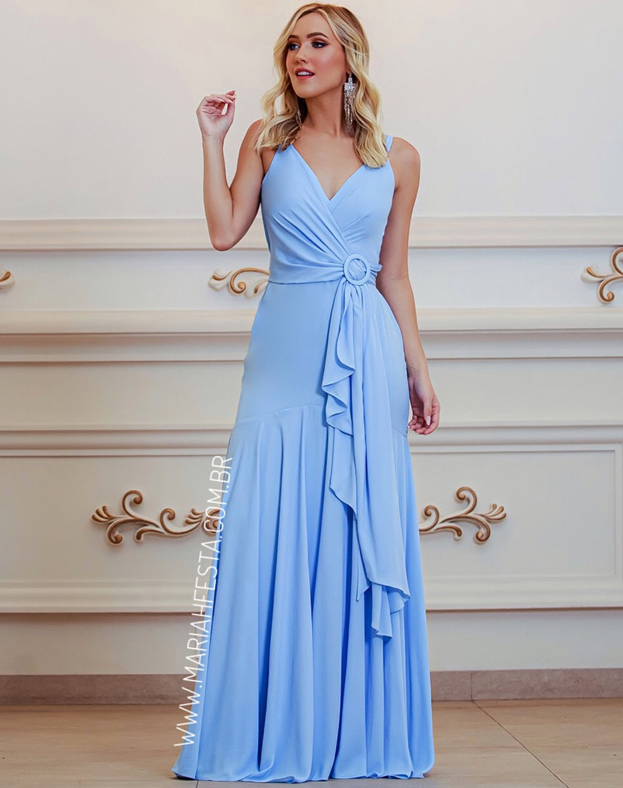 Vestido Azul Serenity Semi Sereia com Decote