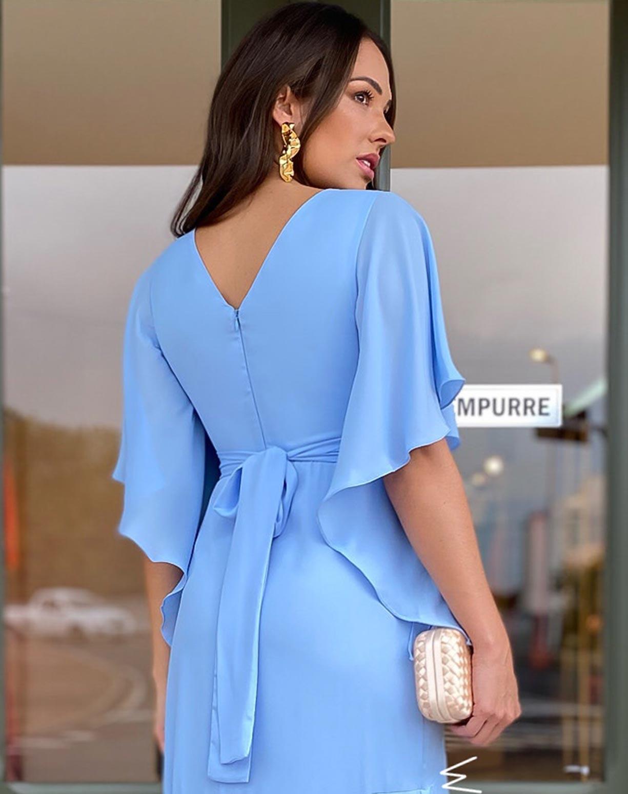 Vestido Azul Serenity Semi Sereia com Manga Voal