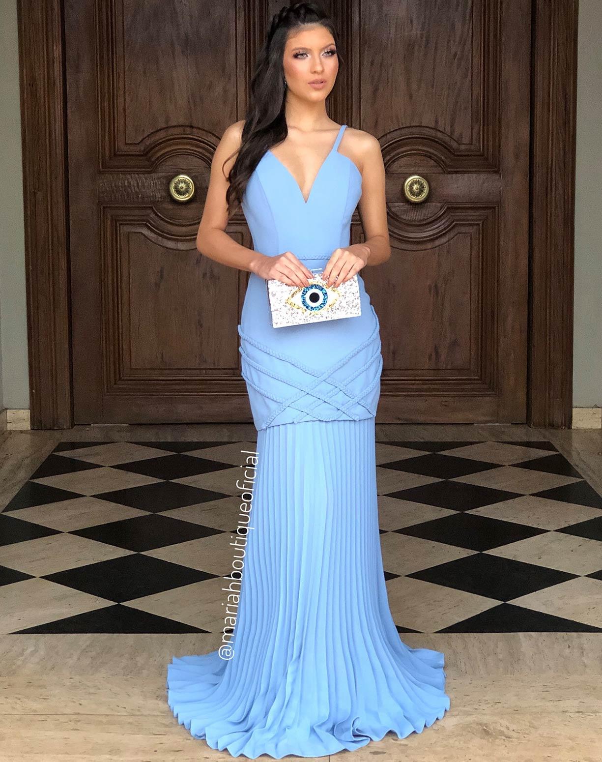 Vestido Azul Serenity  Sereia com Barra Plissada