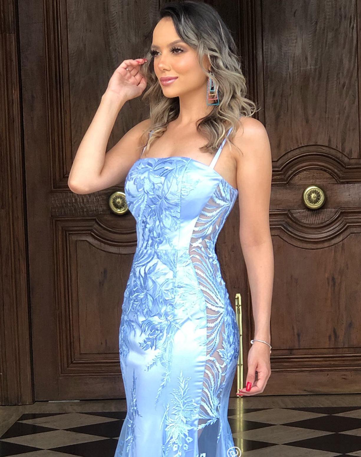Vestido Azul Serenity Sereia em Renda
