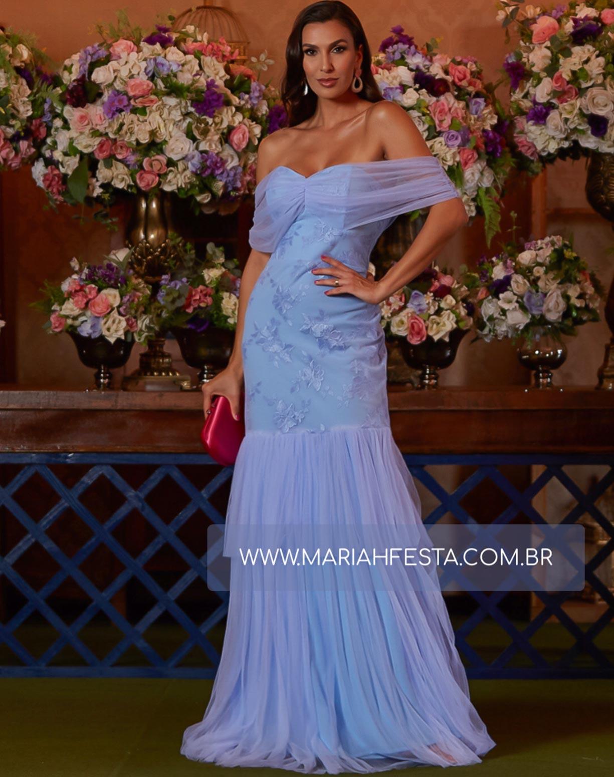 Vestido Azul Serenity Sereia em Tule e Renda