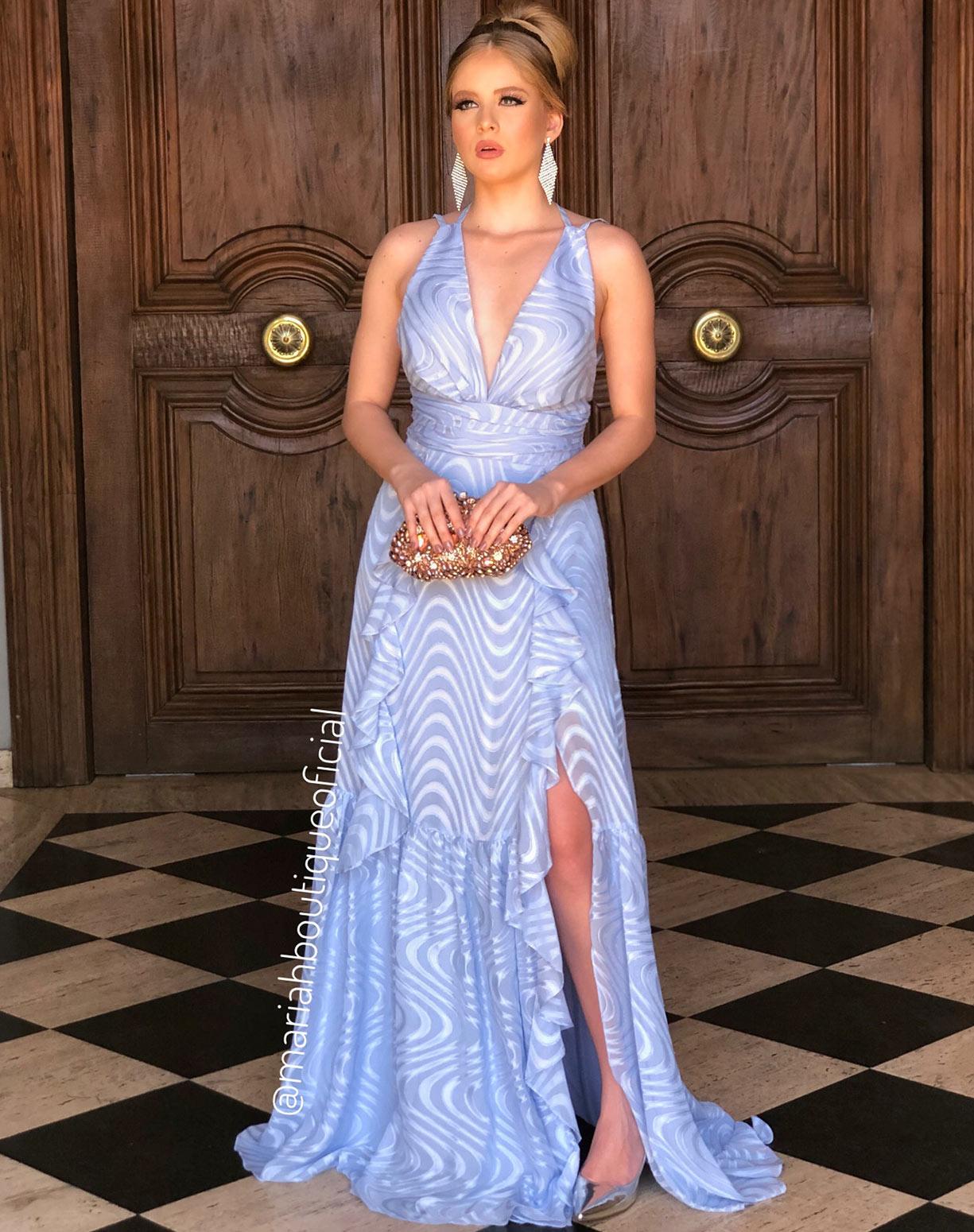 Vestido Azul Serenity Texturizado com Fenda