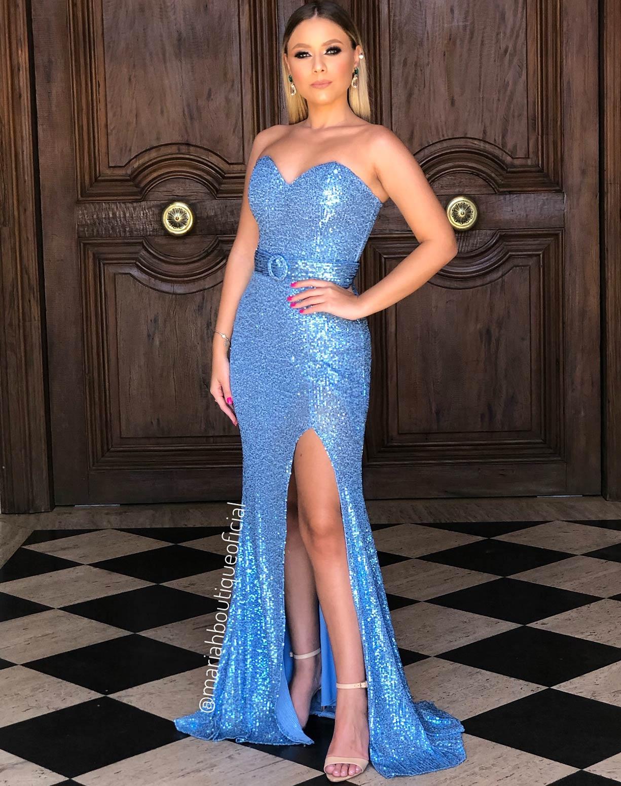 Vestido Azul Serenity Tomara que Caia em Paetê