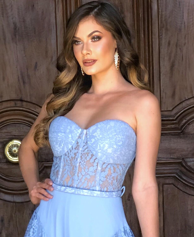 Vestido Azul Serenity Tomara que Caia em Renda