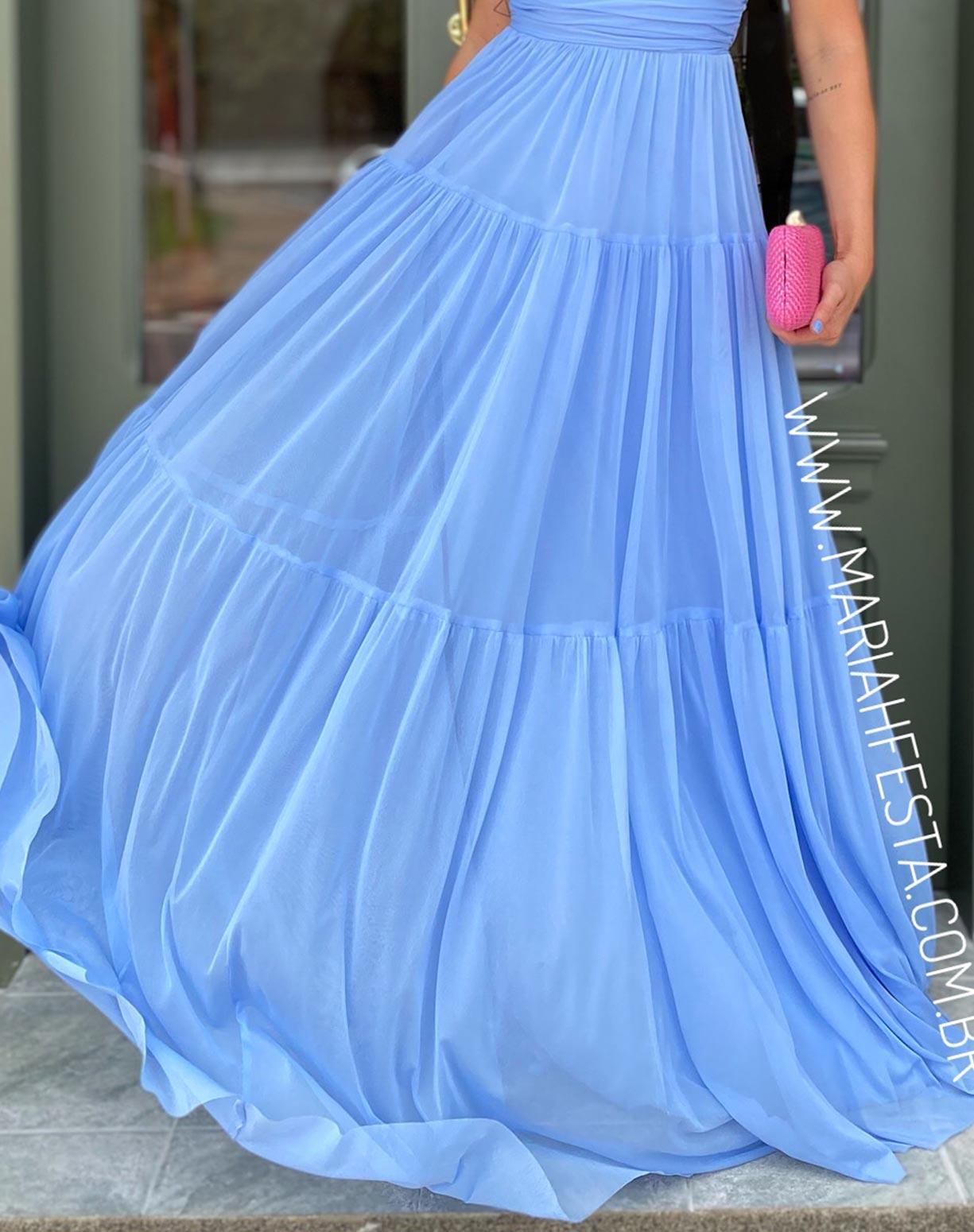 Vestido Azul Serenity Tomara que Caia em Tule