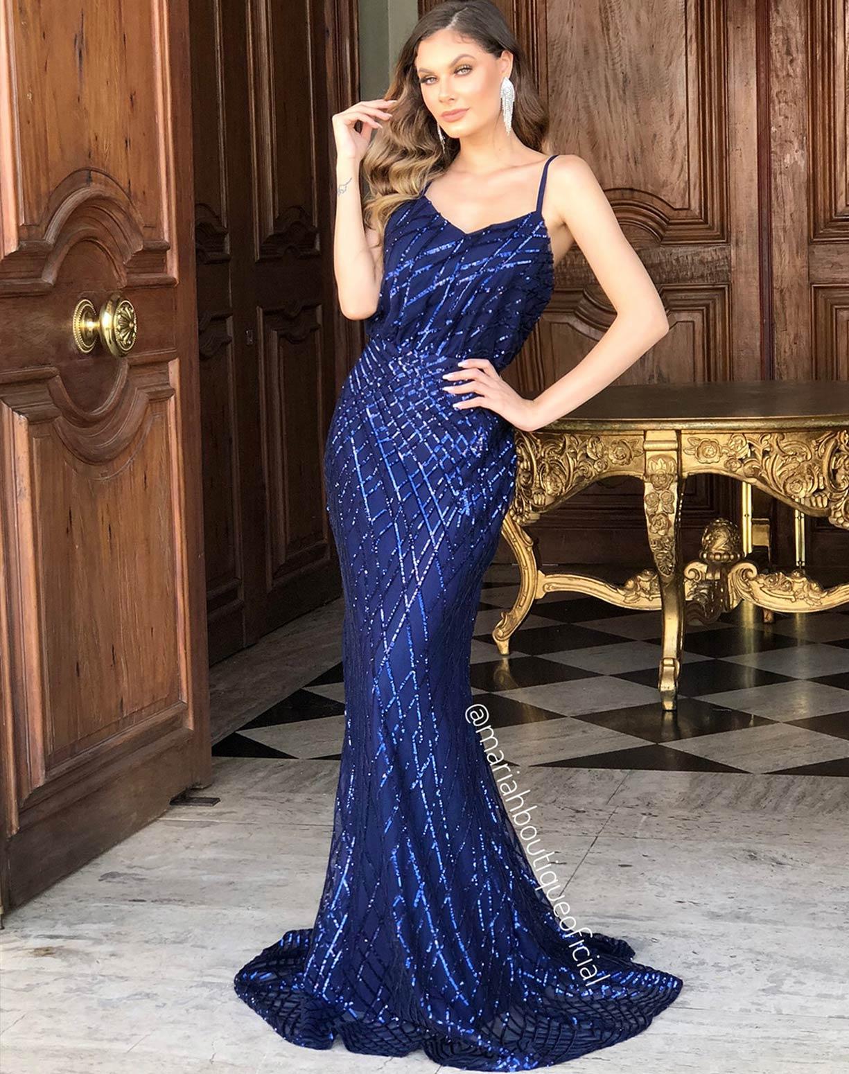 Vestido Azul Marinho modelo Blusê Com Bordados em Paetês