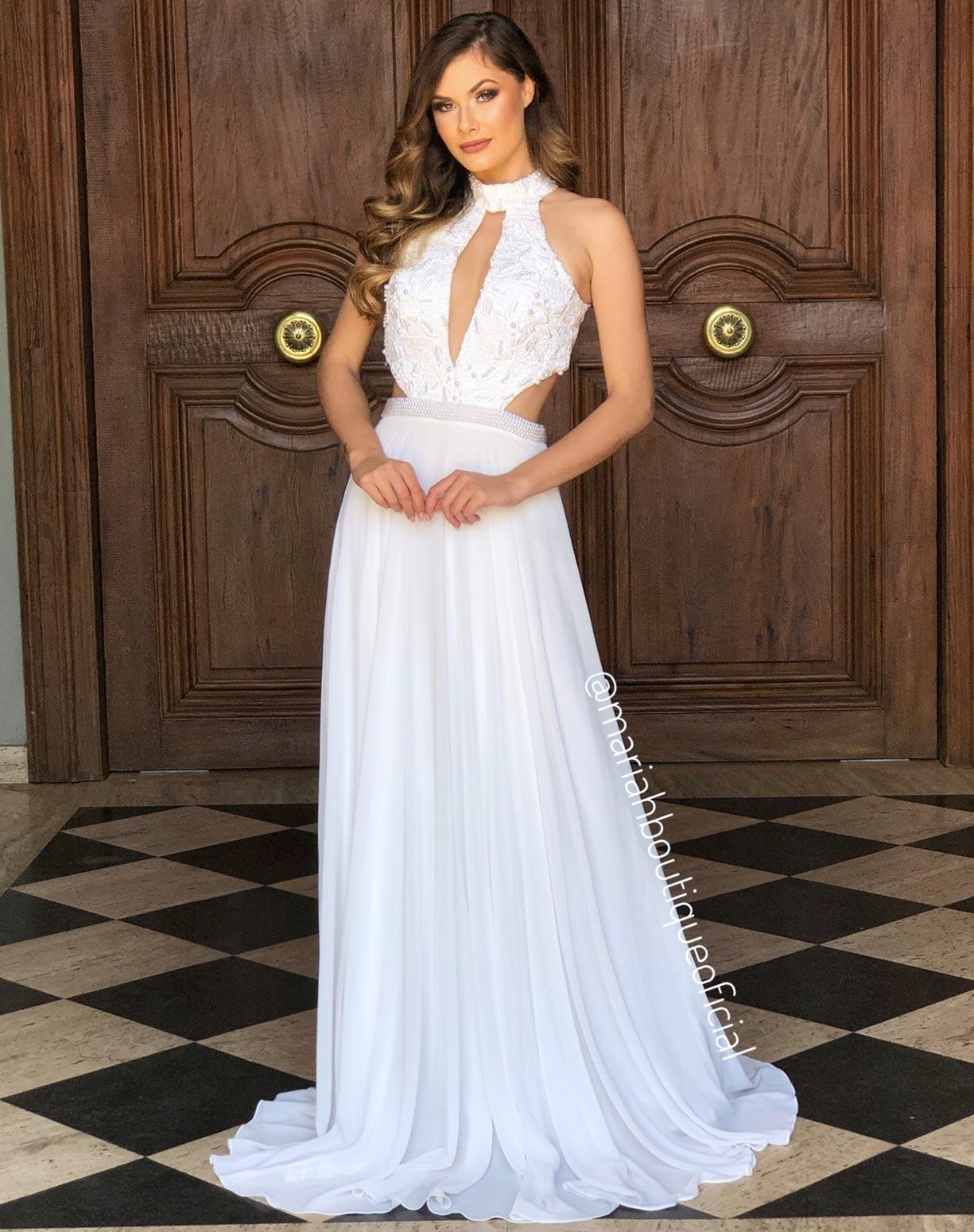 Vestido Branco com Corpinho em Renda com Pérolas