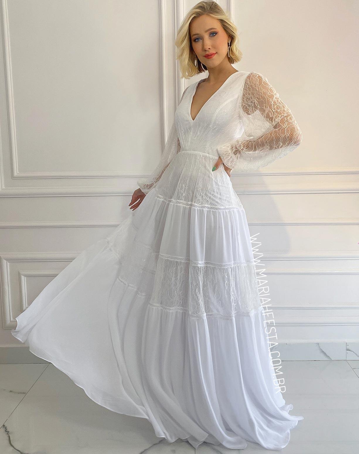 Vestido Branco com Saia Evasê em Mix de Renda e Musseline