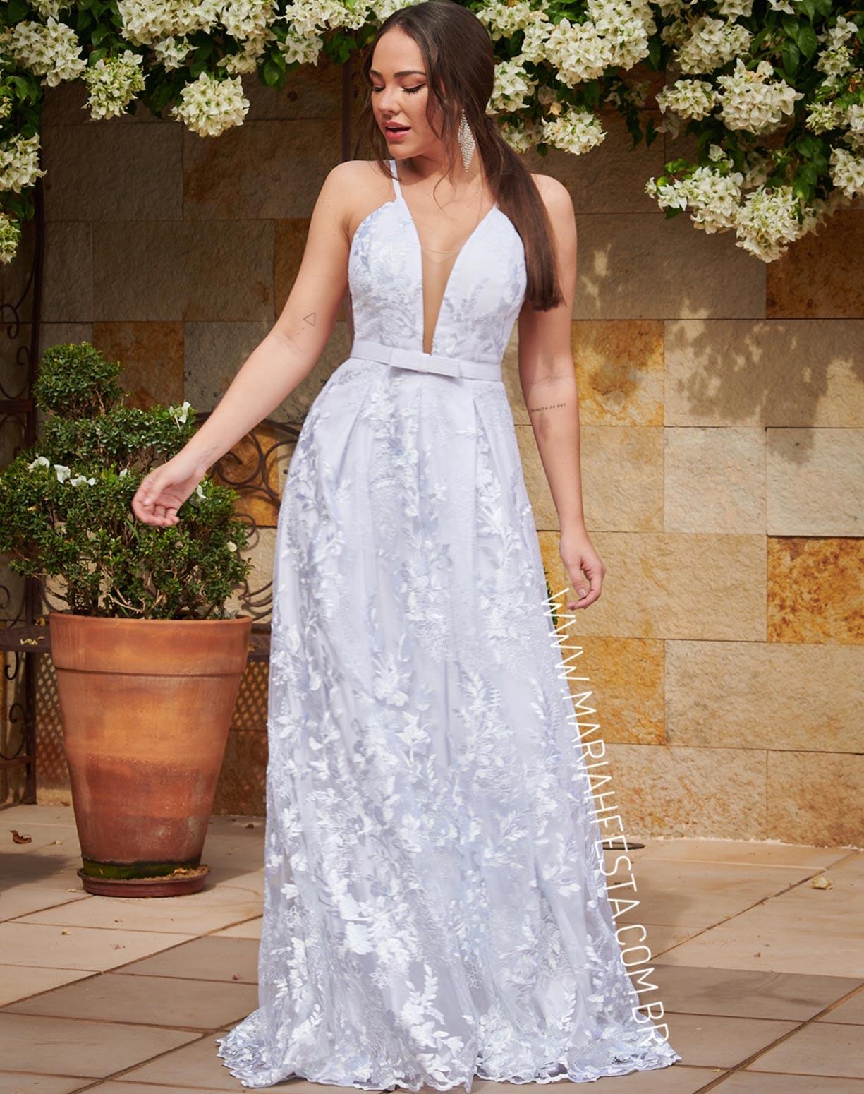 Vestido Branco em Renda com Cinto