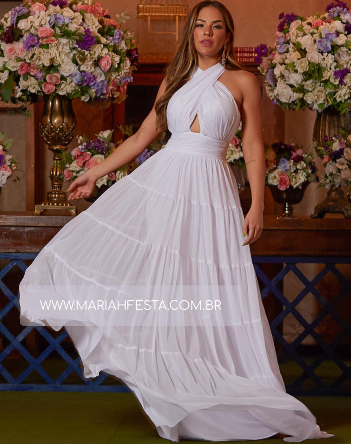 Vestido Branco em Tule com Alças Transpassadas