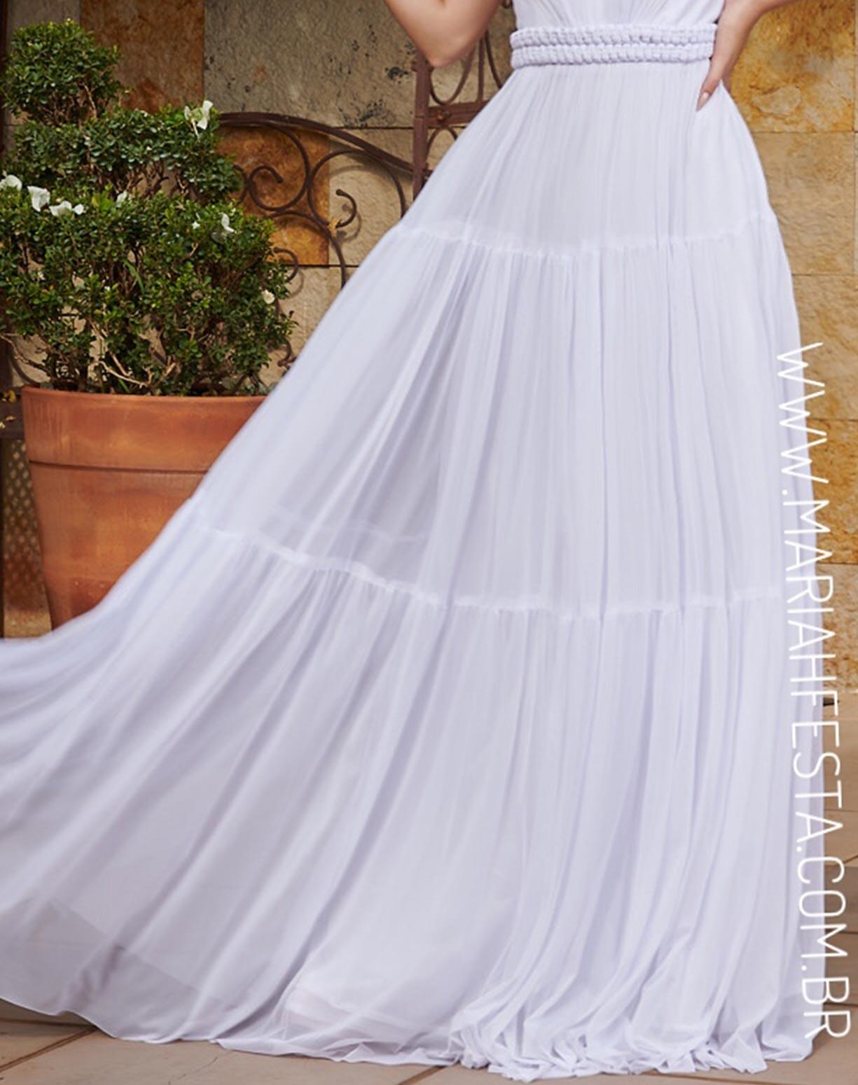 Vestido Branco em Tule com Cinto Fixo em Macramê