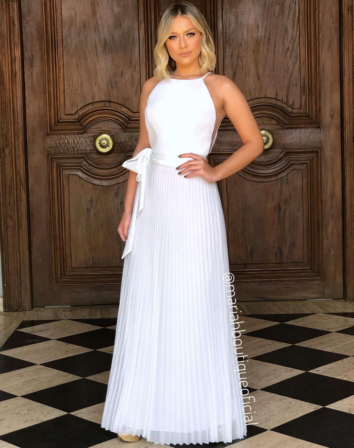 Vestido Branco em Tule com Glitter