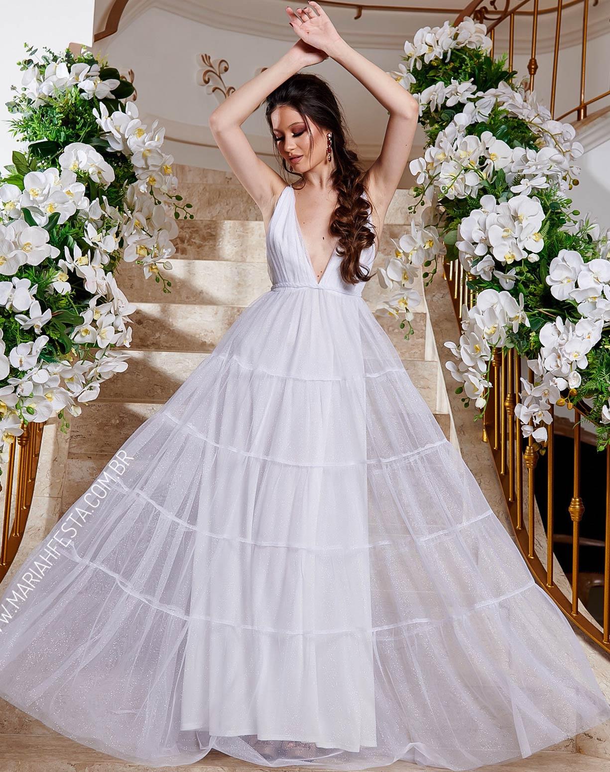 Vestido Branco em Tule Glitter com Saia em Camadas e Decote nas Costas