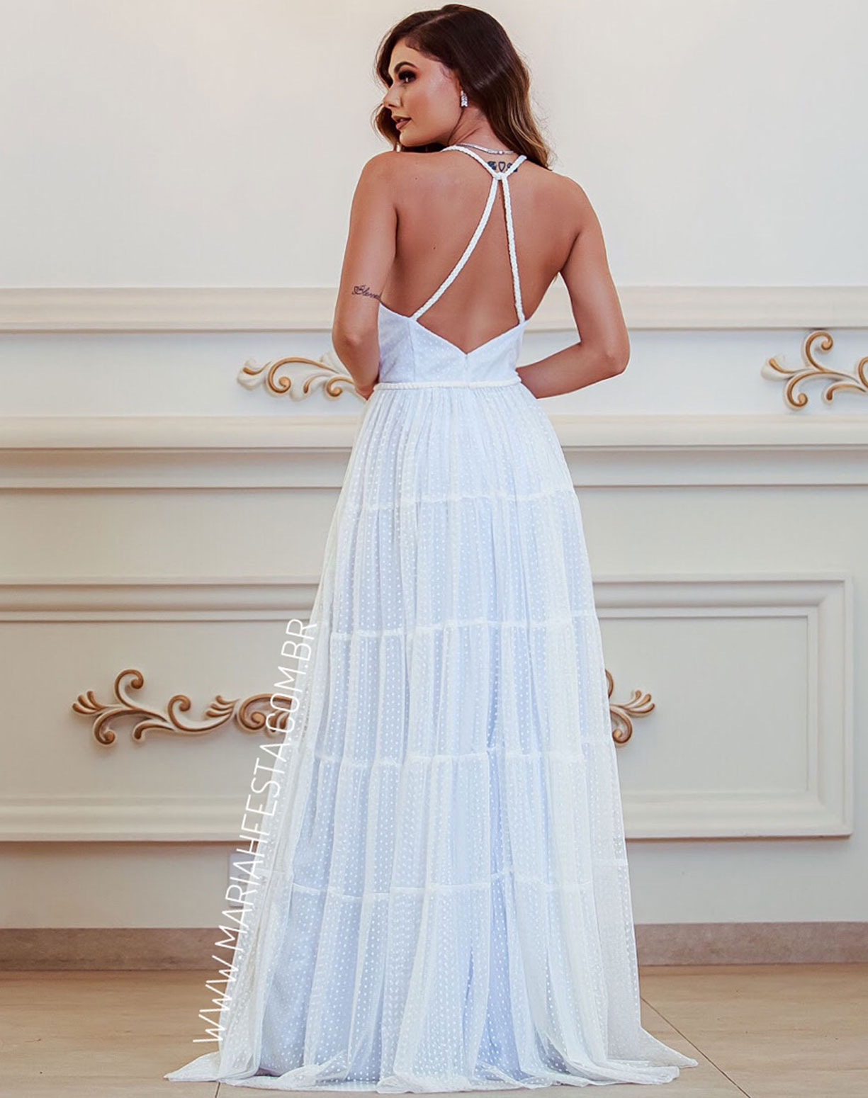 Vestido Branco em Tule Texturizado
