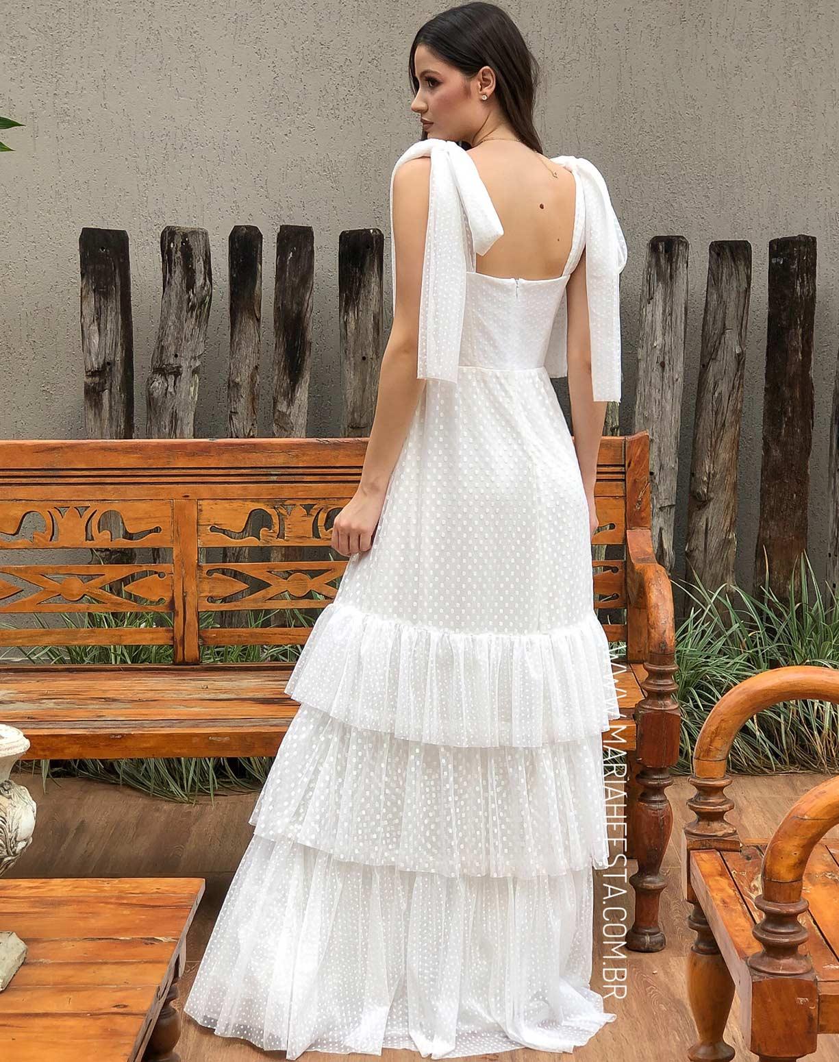 Vestido Branco em Tule Texturizado com Alça de Amarrar