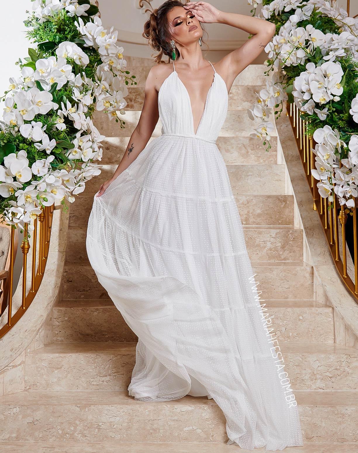 Vestido Branco em Tule Texturizado com Saia em Camadas e Decote nas Costas