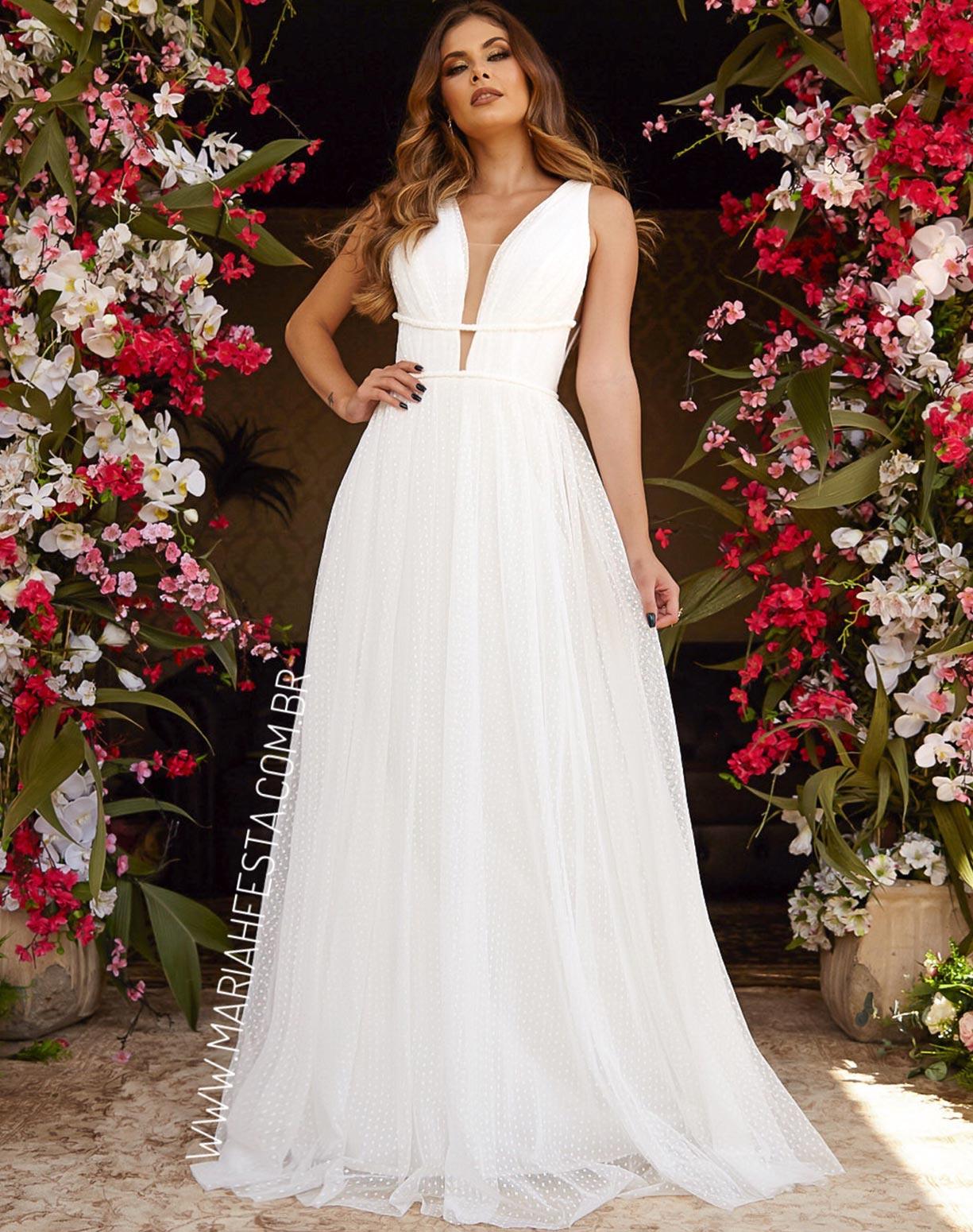 Vestido Branco em Tule Texturizado com Saia Evasê