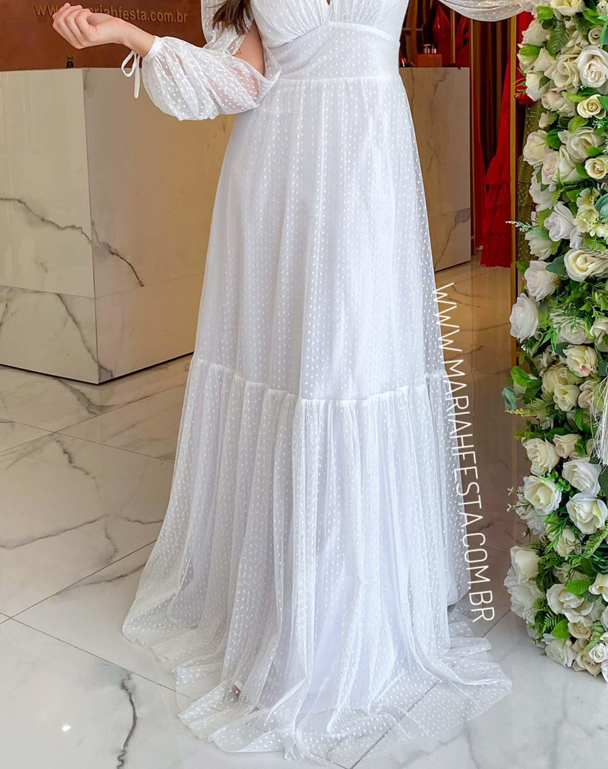 Vestido Branco Manga Longa em Tule Texturizado