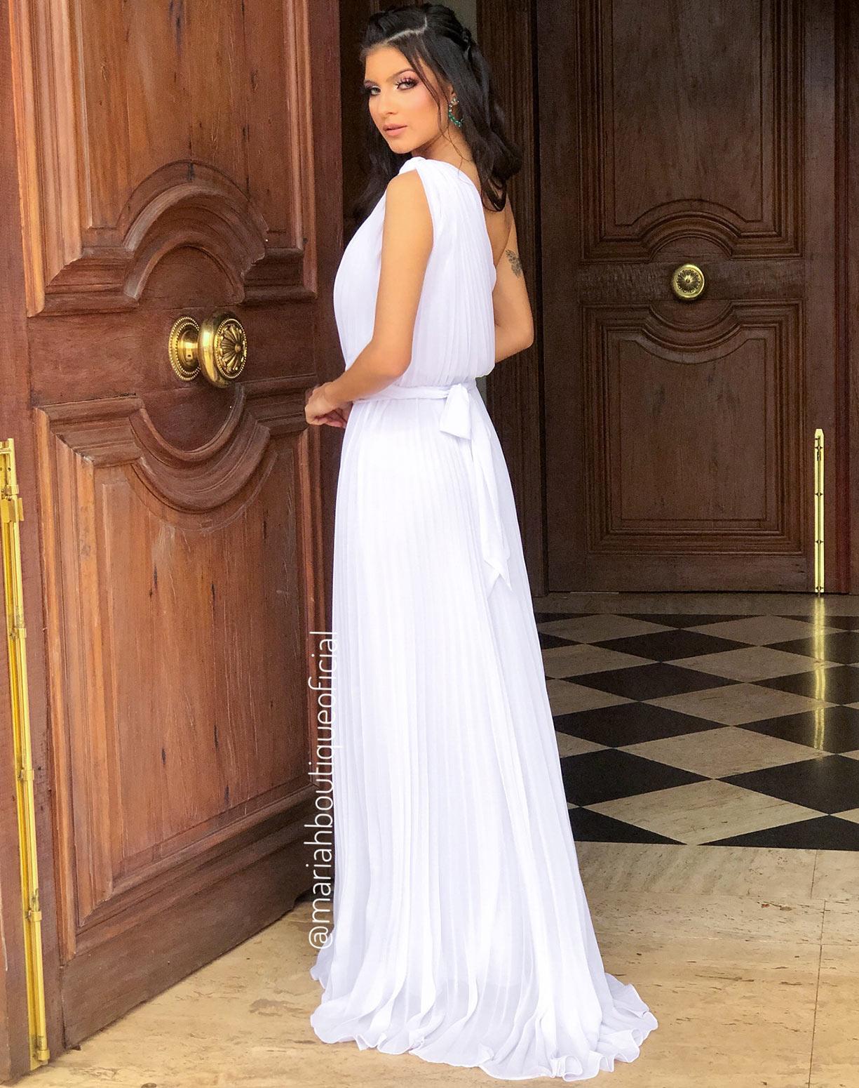 Vestido Branco Plissado de um Ombro Só