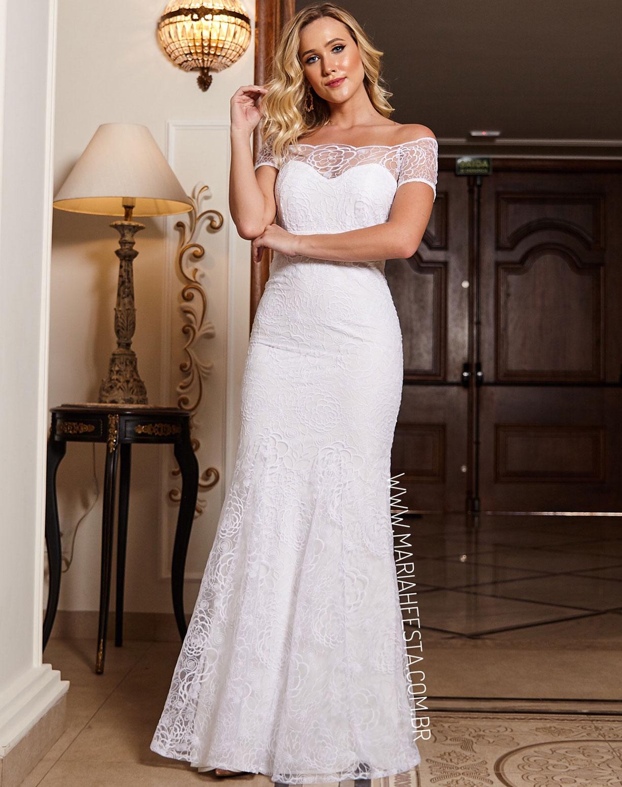 Vestido Branco Sereia em Renda Decote Ombro a Ombro